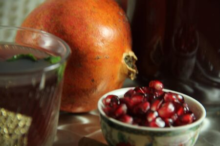 pomegranate juice composition on platter
