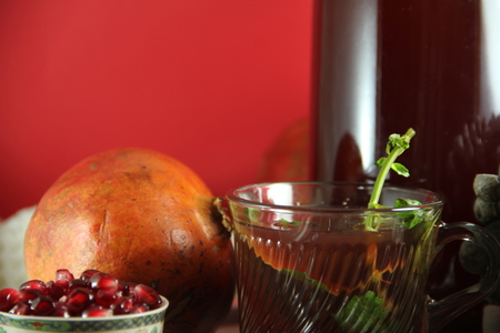 pomegranate details composition on platter