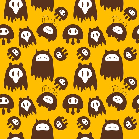 pattern monster: Seamless cute monsters background illustration Stock Photo