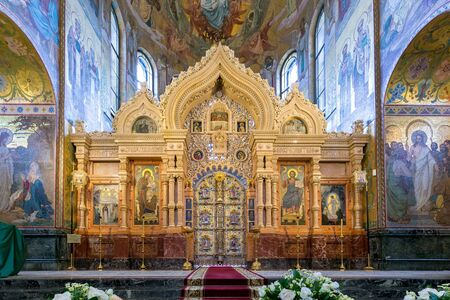 The iconostasis of the Temple of the Savior on the Spilled Blood. Saint - Petersburg, Russia. August 2017. Editorial