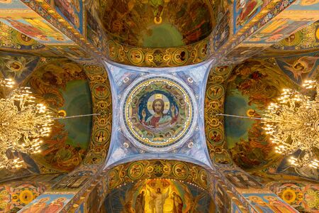 The Central mosaic image of Christ the Almighty in the ceiling of the Central. Saint - Petersburg, Russia. August 2017. Editorial