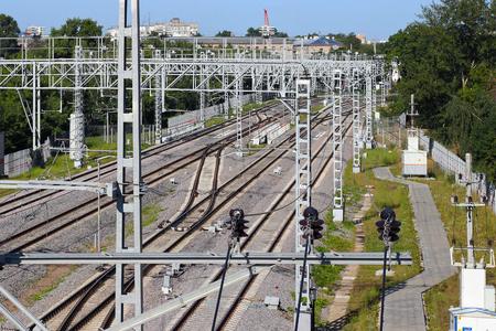 Railway tracks go into the distance