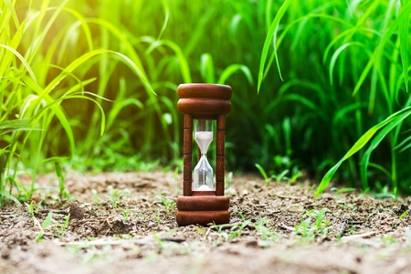 small hourglass in green grass field. - measuring the passing time and countdown to a deadline.