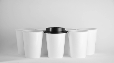 White paper coffee cup - close up