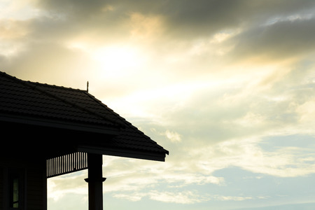 silhouette of roof at modern house