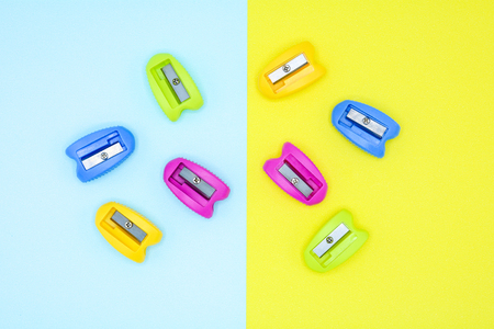 colorful of plastic pencil sharpener - background