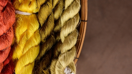 colorful of silk yarn for ready to weaving