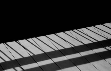 Metal fence with shadows on the wood floor