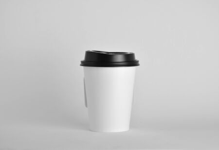 White paper coffee cup close up