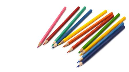 color pencils isolated on white background 免版税图像
