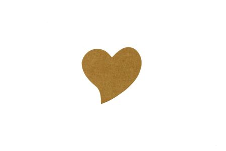 brown heart recycled paper label isolated on white background.
