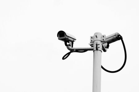Security CCTV camera isolated on white background