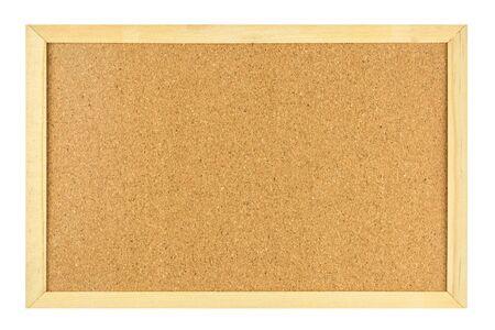 Leere Korkplatte im Holzrahmen isoliert auf weißem Hintergrund. Standard-Bild