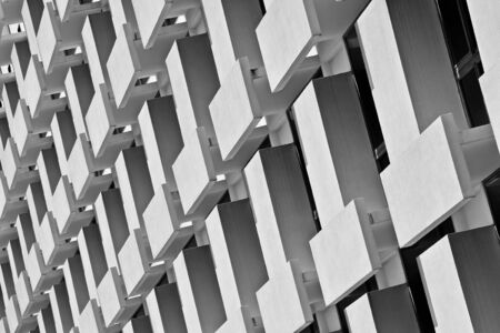 Pattern of the Multi-Storey Building Windows and Balcony. - monochrome