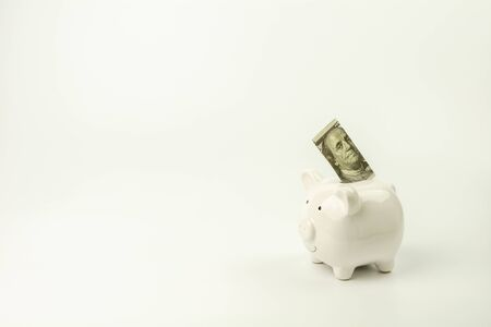 white piggy bank and dollar bill on white background. - save and management concept. 版權商用圖片
