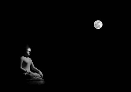 Buddha statue and the moon