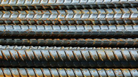 pattern of a rusty steel bar for construction.