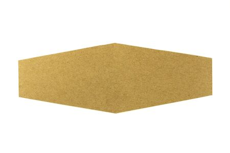brown recycled paper label isolated on white background.