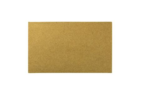 brown recycled paper rectangle isolated on white background.