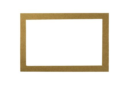 brown recycled paper frame isolated on white background.
