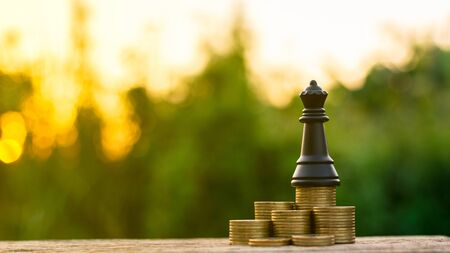 queen chess on a golden stack coins. - fight and winner business concept.
