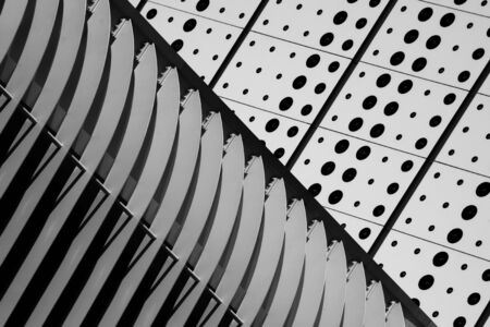 abstract of a metal structure at building. - light and shadow