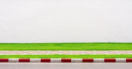 empty white concrete wall and sidewalk in urban. 版權商用圖片