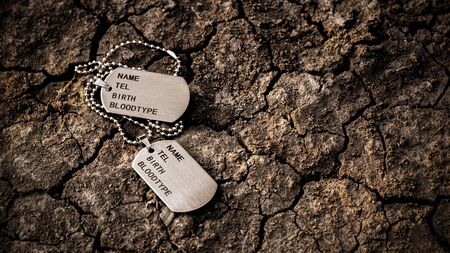 Blank military dog tags on abandoned crack soil. - Memories and sacrifices concept.