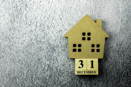 Small home mode and a vintage wooden calendar set at
