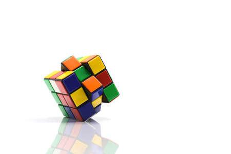 thailand, bangkok. October 11, 2017. Rubik's cube on white background. Rubik's Cube invented by a Hungarian architect Erno Rubik in 1974. Редакционное