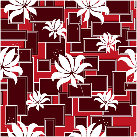 abstract flowers: Seamless pattern with abstract flowers