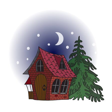 house at night: fairy forest house. Night, the stars and the moon. Vector illustration.