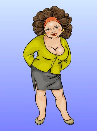 plump: Cartoon character, plump young woman large size, illustration, hand drawing
