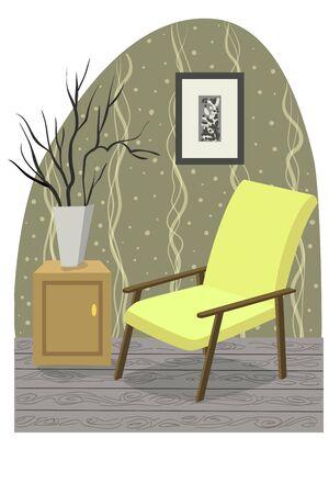 living room design: Interior design, living room furniture, pastel colors, graphics flat