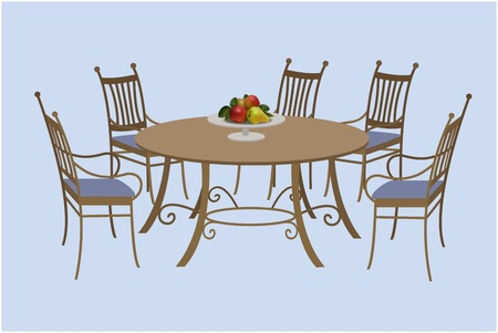 round chairs: Living room furniture, chairs and a round table, a bowl of fruit. Vector illustration, hand drawing.