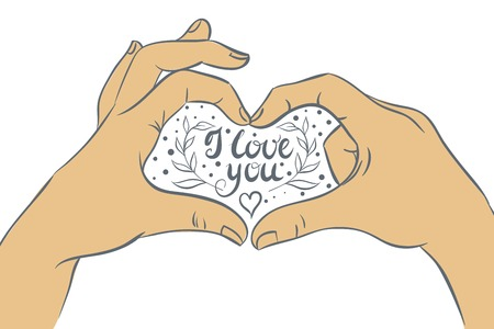 folded hand: Hands folded heart with the inscription I love you. Vector illustration, hand drawing. Illustration