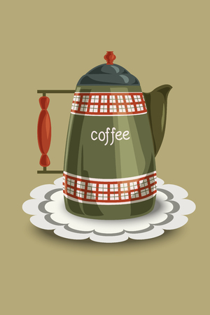 restored: Restored vintage enamel coffee pot with checkered patterns and wooden handle. Vector illustration, hand drawing.
