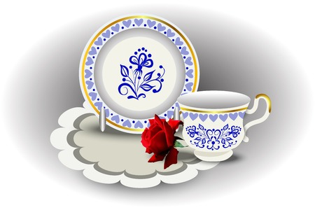 tea rose: Elegant tea couple cup and plate, napkin and rose, vector illustration, hand drawing.