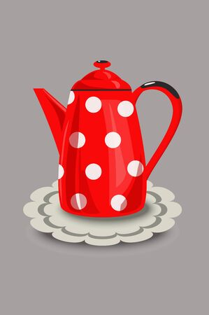 enamel: Restored vintage red enamel coffee pot with polka dots and a napkin. Vector illustration, hand drawing.
