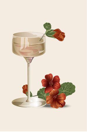 nasturtium: Isolated vector illustration. Glass and flower. Stylish element for design.