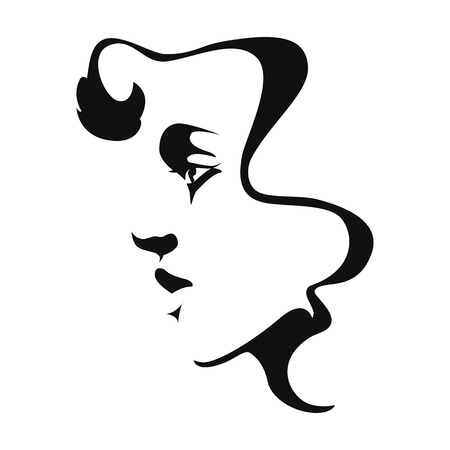 black woman face: Black and white icon silhouette of a girl logo. Vector illustration.