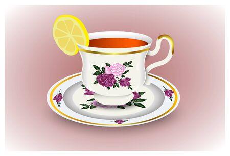 Tasse de thé sur une soucoupe et un citron. jeu de porcelaine, illustration vectorielle.