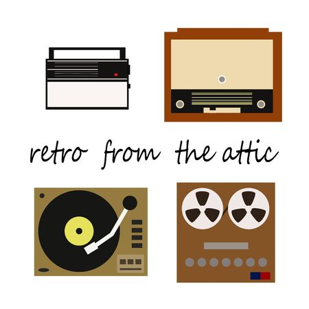 fm: Flete retro illustration, receiver, recorder, player with vinyl records and radiogram. Vector