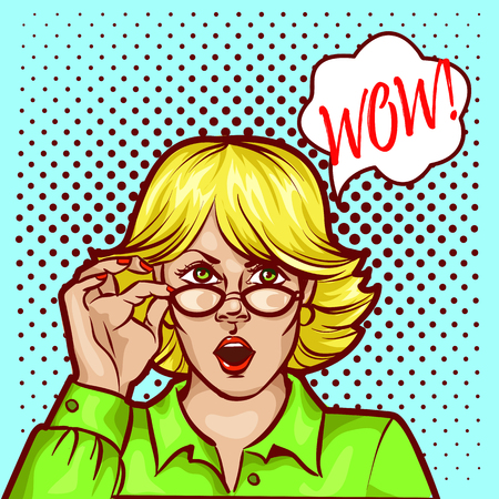 woman mouth open: Wow bobble pop art surprised woman face in glasses with open mouth