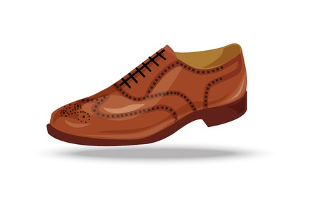 oxford: light brown, red or yellow oxford shoe. Shoe in retro style,