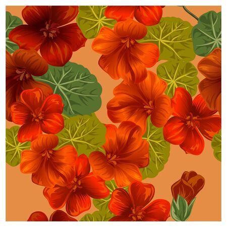 nasturtium: Seamless pattern with orange nasturtium flowers, vector illustration