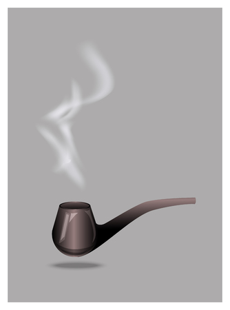 cigar smoking man: vintage wooden tobacco pipes vector
