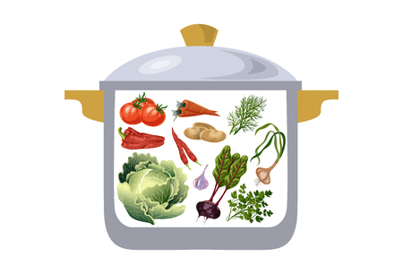 borscht: casserole with vegetables, ingredients for preparation of borscht. Vector illustration Illustration