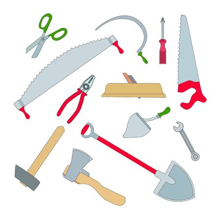 overhaul: Vector set of isolated working tools: planer and an ax, a hammer and a saw, hacksaw and shovel, screwdriver and pliers. Illustration