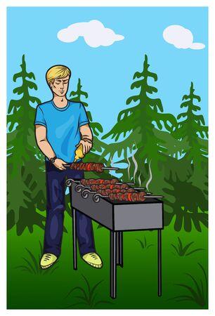 shish kebab: the young man prepares Shish kebab in the forest. Vector illustration